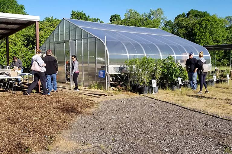 Visitors purchasing plants from the Fort Worth Nature Center greenhouse