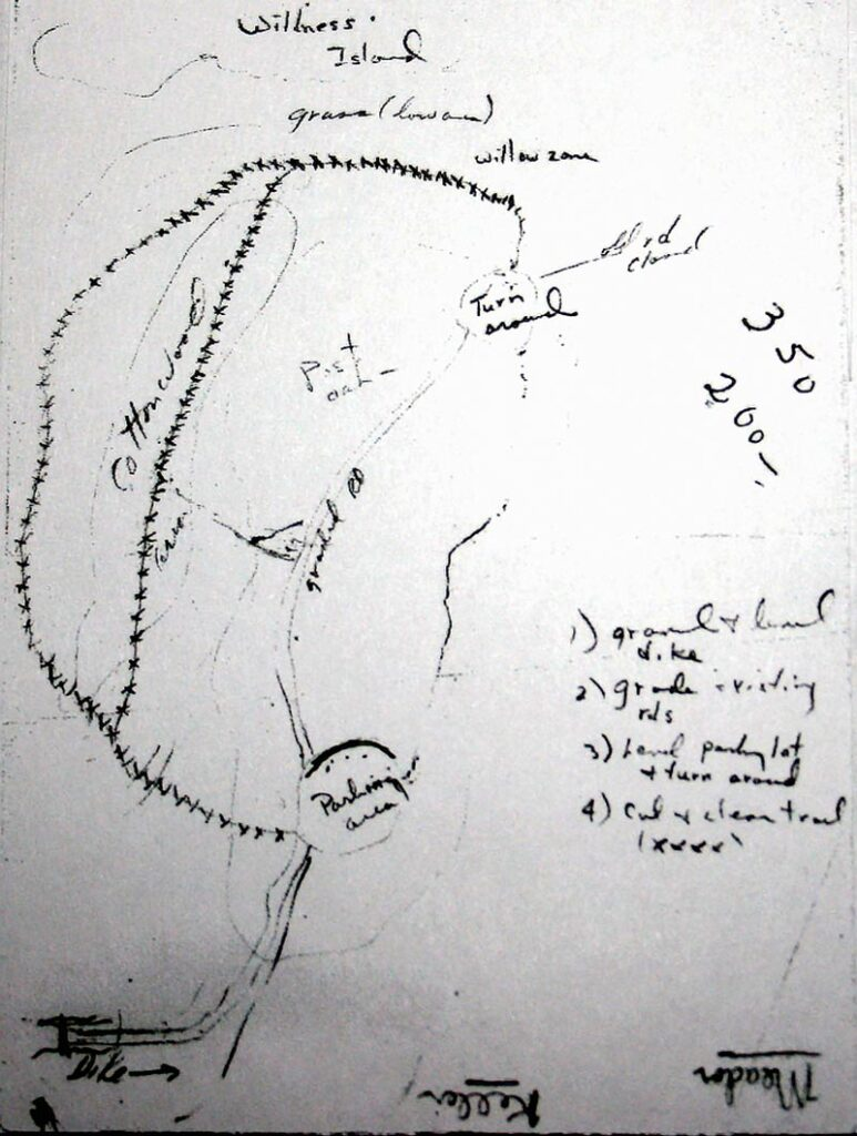 Old 1964 plan hand-drawn by Warren Pulich of the original trails, levee, and parking lot at Greer Island at the Fort Worth Nature Center