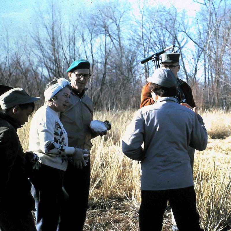 Old 1964 photo of Audubon group at Greer Island at the Fort Worth Nature Center