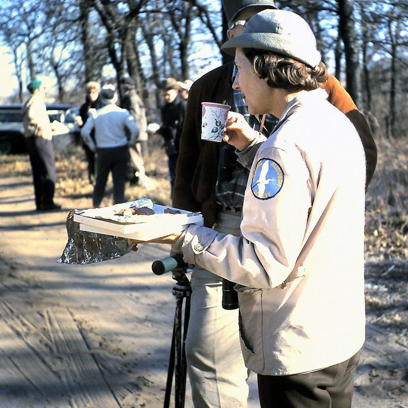 Old 1964 photo of Margaret Parker drinking coffee at Greer Island at the Fort Worth Nature Center