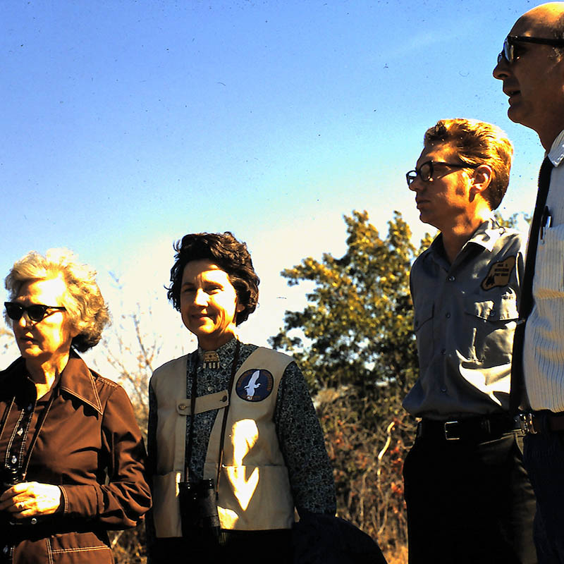 Old 1972 photo of Jessie Maye Smith, Margaret Parker, Harold Arnold, and Ted Hofsiss at the Fort Worth Nature Center