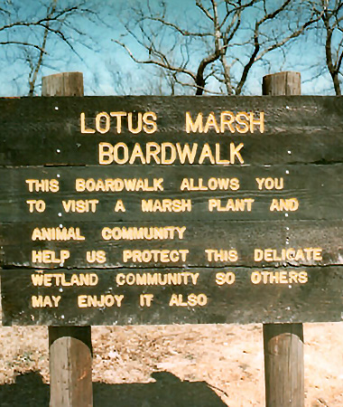 Old 1976 of the original Lotus Marsh Boardwalk sign at the Fort Worth Nature Center