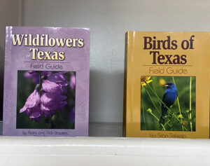Display of field guides at the Friends Gift Shop at the Fort Worth Nature Center