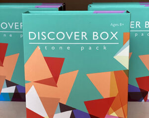 Discover Box stone pack educational materials at the Friends Gift Shop at the Fort Worth Nature Center