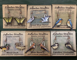 Bird , duck, and butterfly earrings at the Friends Gift Shop at the Fort Worth Nature Center