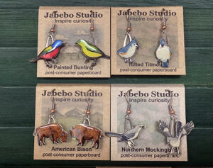 Bird and bison earrings at the Friends Gift Shop at the Fort Worth Nature Center