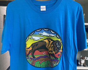 Blue t-shirt with bison logo at the Friends Gift Shop at the Fort Worth Nature Center
