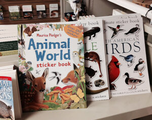 Display of sticker books of birds and animals at the Friends Gift Shop at the Fort Worth Nature Center