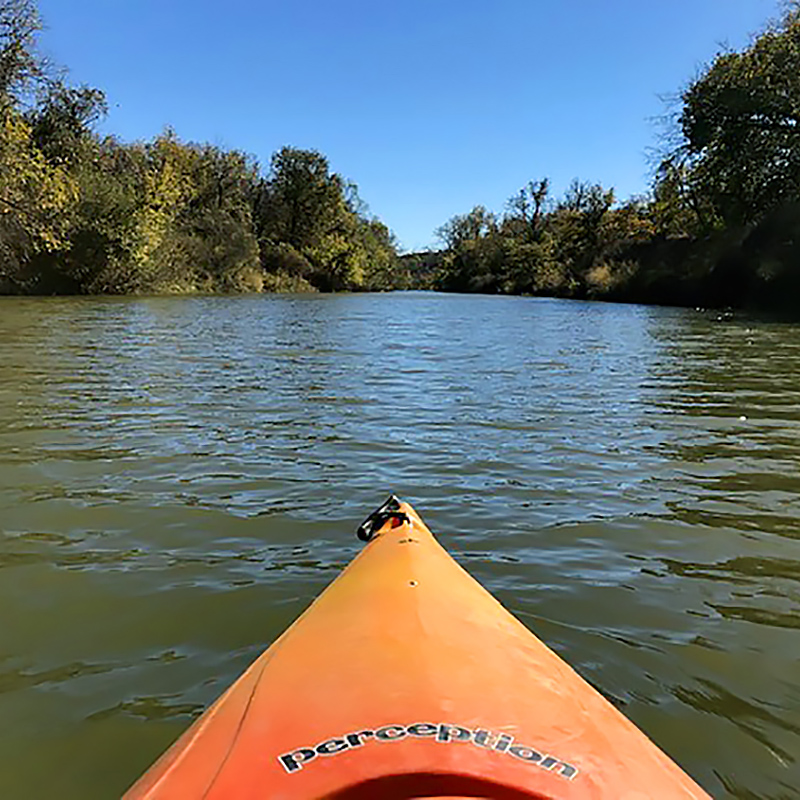 View from a kayak on the Trinity River at the Fort Worth Nature Center